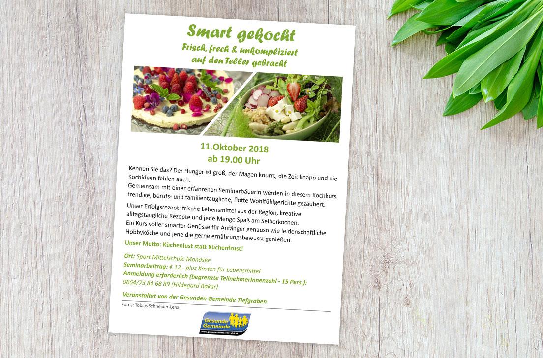 Referenz Flyer Kochkurs für die Gesunde Gemeinde Tiefgraben