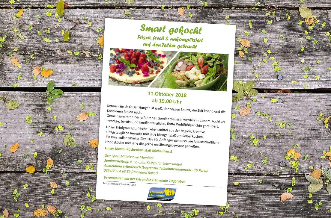 Referenzen Flyer Kochkurs für die Gesunde Gemeinde Tiefgraben